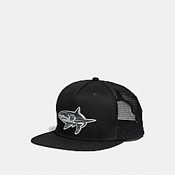 SHARK MOTIF FLAT BRIM HAT - f28844 - BLACK