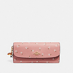 BOXED SOFT WALLET WITH DITSY DAISY PRINT AND CHARMS - f28853 - VINTAGE PINK MULTI/imitation gold