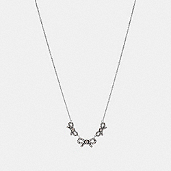 TRIPLE STONE BOW NECKLACE - f28856 - MULTI/SILVER