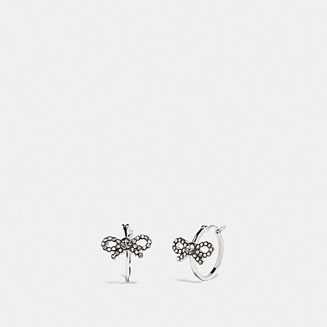 COACH F28872 BOW HUGGIE EARRINGS MULTI/SILVER