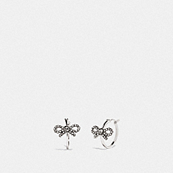 BOW HUGGIE EARRINGS - F28872 - MULTI/SILVER