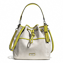 COACH F28913 Avery Canvas Drawstring SILVER/NATURAL/CHARTREUSE