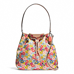 COACH F28922 Signature Stripe Floral Print Drawstring Shoulder Bag