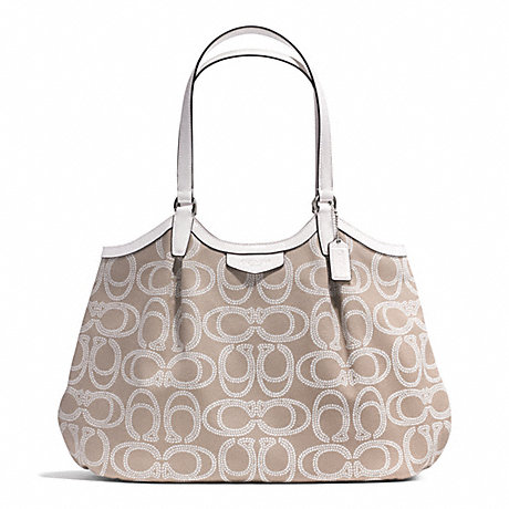 COACH F28926 SIGNATURE STRIPE ROPE PRINT SHOULDER BAG SILVER/NATURAL