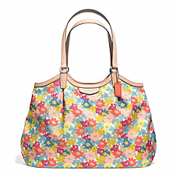 COACH F28931 Signature Stripe Floral Print Shoulder Bag