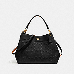 SMALL LEXY SHOULDER BAG IN SIGNATURE LEATHER - f28934 - BLACK/light gold