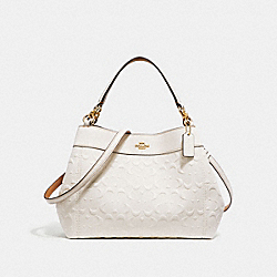 SMALL LEXY SHOULDER BAG IN SIGNATURE LEATHER - f28934 - CHALK/LIGHT GOLD