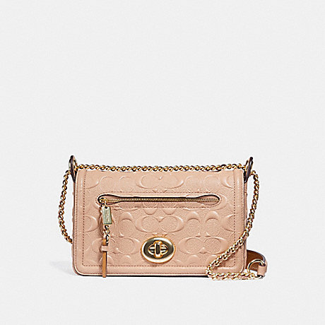 COACH f28935 LEX SMALL FLAP CROSSBODY IN SIGNATURE LEATHER nude pink/imitation gold