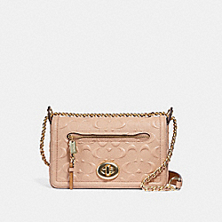 LEX SMALL FLAP CROSSBODY IN SIGNATURE LEATHER - f28935 - nude pink/imitation gold