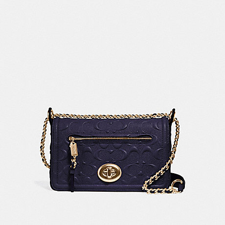 COACH f28935 LEX SMALL FLAP CROSSBODY IN SIGNATURE LEATHER MIDNIGHT/IMITATION GOLD