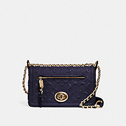 LEX SMALL FLAP CROSSBODY IN SIGNATURE LEATHER - f28935 - MIDNIGHT/IMITATION GOLD