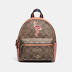 MINI CHARLIE BACKPACK IN SIGNATURE CANVAS WITH BLUE HAWAII PATCHES - f28948 - khaki/multi/imitation gold