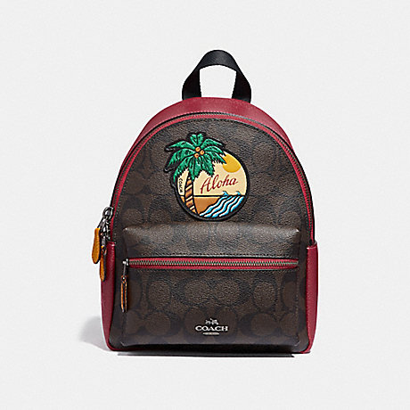 COACH f28948 MINI CHARLIE BACKPACK IN SIGNATURE CANVAS WITH BLUE HAWAII PATCHES<br>蔻驰迷你查理背包在签名画布蓝色夏威夷补丁 QBBMC