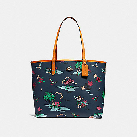 COACH f28949 REVERSIBLE CITY TOTE WITH SCENIC HAWAIIAN PRINT IMNIF
