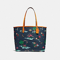 REVERSIBLE CITY TOTE WITH SCENIC HAWAIIAN PRINT - f28949 - IMNIF