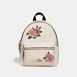 MINI CHARLIE BACKPACK WITH HAWAIIAN FLORAL EMBROIDERY - f28953 - CHALK MULTI/IMITATION GOLD