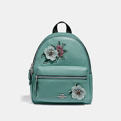 COACH f28953 MINI CHARLIE BACKPACK WITH HAWAIIAN FLORAL EMBROIDERY SVNGV