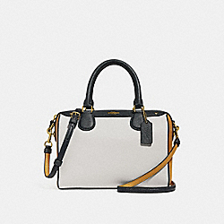 MINI BENNETT SATCHEL IN COLORBLOCK - f28956 - CHALK MULTI/IMITATION GOLD