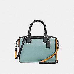 MINI BENNETT SATCHEL IN COLORBLOCK - f28956 - SILVER/BLUE MULTI