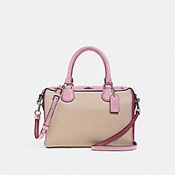 COACH F28956 Mini Bennett Satchel In Colorblock SILVER/PINK MULTI
