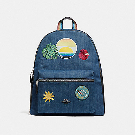 COACH f28958 CHARLIE BACKPACK WITH BLUE HAWAII PATCHES SVM64