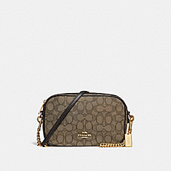 ISLA CHAIN CROSSBODY IN SIGNATURE JACQUARD - f28959 - KHAKI/BROWN/IMITATION GOLD
