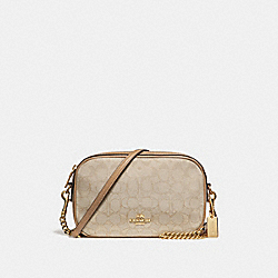ISLA CHAIN CROSSBODY IN SIGNATURE JACQUARD - f28959 - Light khaki/Light Saddle/imitation gold