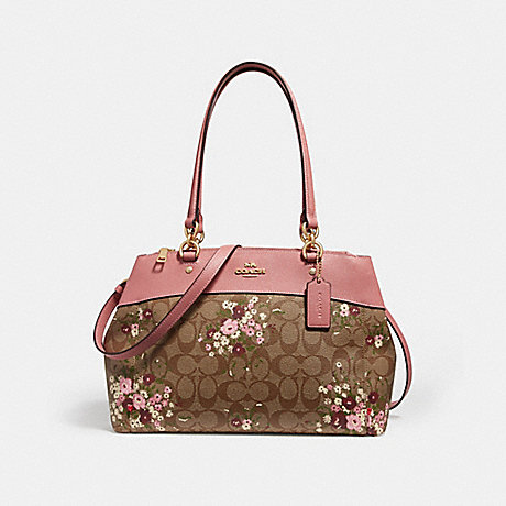 COACH f28963 BROOKE CARRYALL IN SIGNATURE CANVAS WITH FLORAL BUNDLE PRINT khaki/multi/imitation gold