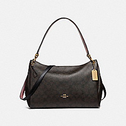 MIA SHOULDER BAG IN SIGNATURE CANVAS - f28967 - BROWN/BLACK/IMITATION GOLD