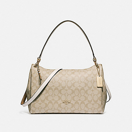 bb2b6f2f6780 COACH f28967 MIA SHOULDER BAG IN SIGNATURE CANVAS LIGHT KHAKI CHALK IMITATION  GOLD