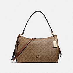 COACH F28967 Mia Shoulder Bag In Signature Canvas KHAKI/SADDLE 2/LIGHT GOLD
