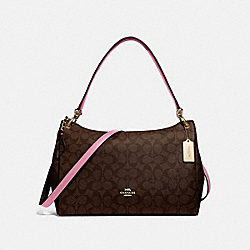 MIA SHOULDER BAG IN SIGNATURE CANVAS - F28967 - IM/BROWN PINK ROSE