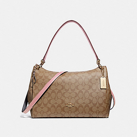 COACH F28967 MIA SHOULDER BAG IN SIGNATURE CANVAS<br>蔻驰MIA肩袋子签名画布 卡其/瓣/银