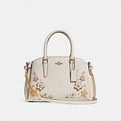 MINI SAGE CARRYALL WITH FLORAL APPLIQUE - f28974 - CHALK MULTI/IMITATION GOLD