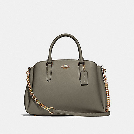 COACH F28976 SAGE CARRYALL MILITARY GREEN/GOLD