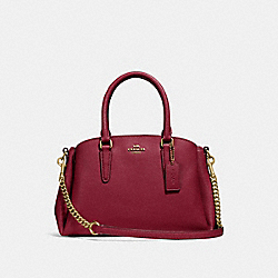 COACH F28977 Mini Sage Carryall CHERRY /LIGHT GOLD