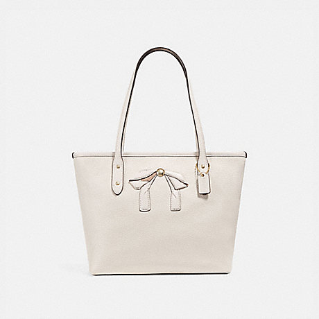 MINI CITY ZIP TOTE WITH BOW - COACH F28988 - CHALK/IMITATION GOLD