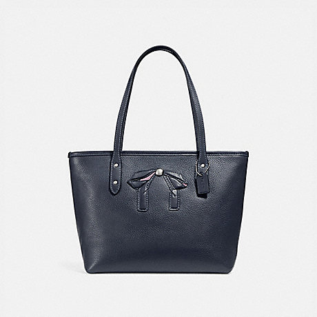COACH MINI CITY ZIP TOTE WITH BOW - SILVER/MIDNIGHT - f28988
