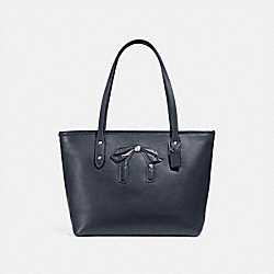 COACH F28988 - MINI CITY ZIP TOTE WITH BOW SILVER/MIDNIGHT