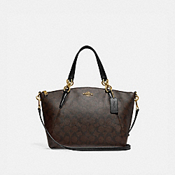 SMALL KELSEY SATCHEL IN SIGNATURE CANVAS - f28989 - BROWN/BLACK/light gold