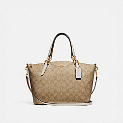 SMALL KELSEY SATCHEL IN SIGNATURE CANVAS - f28989 - LIGHT KHAKI/CHALK/IMITATION GOLD