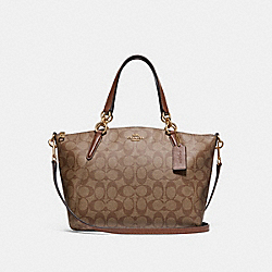 SMALL KELSEY SATCHEL IN SIGNATURE CANVAS - f28989 - KHAKI/SADDLE 2/IMITATION GOLD