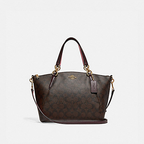 d2277e937d2d COACH f28989 SMALL KELSEY SATCHEL IN SIGNATURE CANVAS BROWN OXBLOOD IMITATION  GOLD