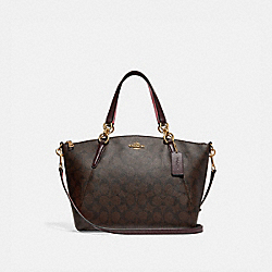 SMALL KELSEY SATCHEL IN SIGNATURE CANVAS - f28989 - BROWN/OXBLOOD/IMITATION GOLD