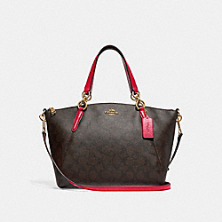 SMALL KELSEY SATCHEL IN SIGNATURE CANVAS - F28989 - BROWN/TRUE RED/LIGHT GOLD