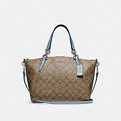 SMALL KELSEY SATCHEL IN SIGNATURE CANVAS - F28989 - KHAKI/CORNFLOWER/SILVER