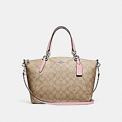 SMALL KELSEY SATCHEL IN SIGNATURE CANVAS - F28989 - LIGHT KHAKI/CARNATION/SILVER