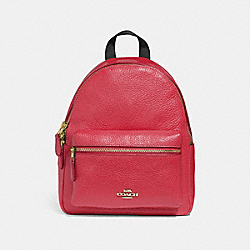 COACH MINI CHARLIE BACKPACK - TRUE RED/LIGHT GOLD - F28995