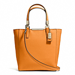 COACH F29001 Madison  Saffiano Leather Mini North/south Tote LIGHT GOLD/BRIGHT MANDARIN