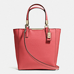 COACH MADISON MINI NORTH/SOUTH TOTE IN SAFFIANO LEATHER - LIGHT GOLD/LOGANBERRY - F29001